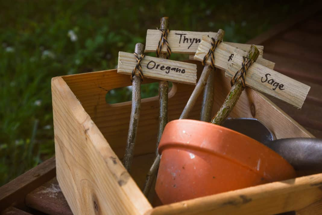 essential herb gardening tools - wooden box containing labels for herb garden